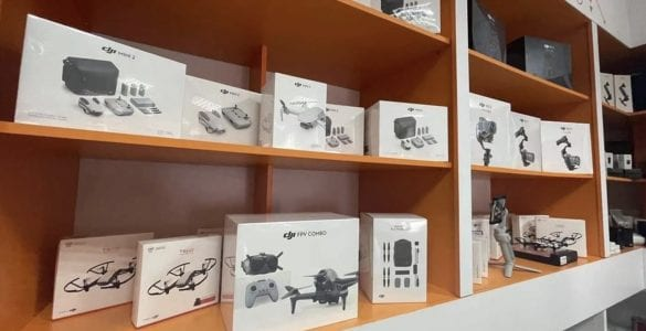 DJI FPV drone shown on display at store