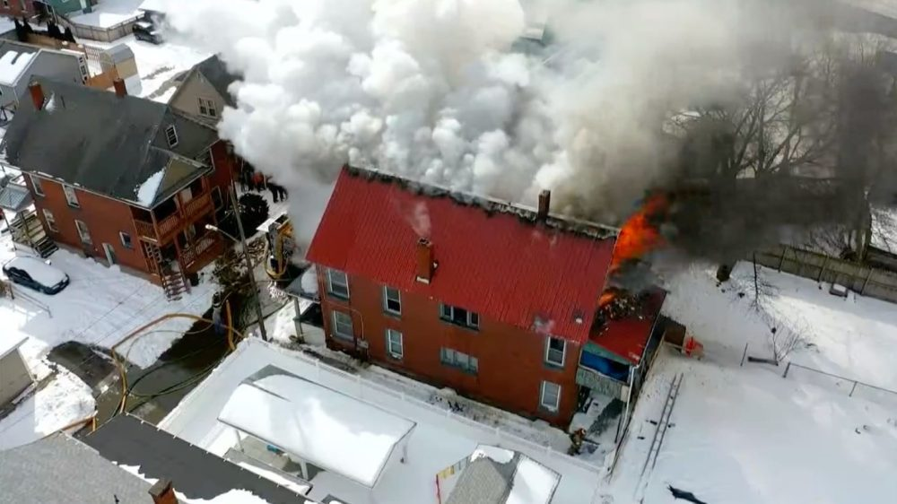 Firefighter's drone captured burning NY apartment