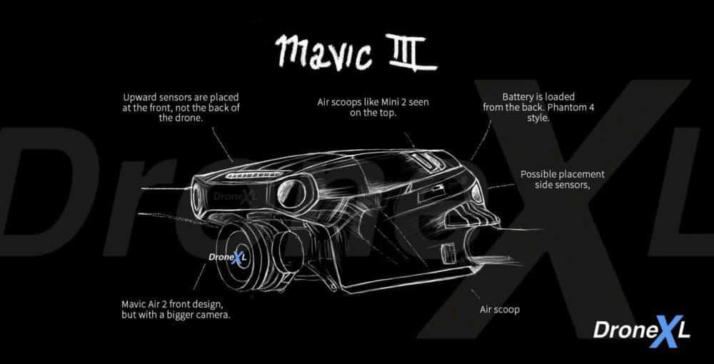 DJI Mavic 3 - Insider sketch shows first glance of drone