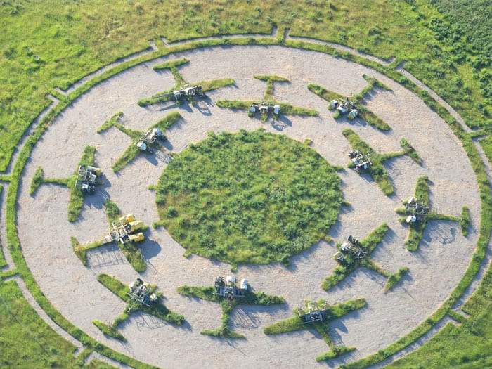 Aerial footage of Aircraft Sculpture 'Gravitas' by Keith Harder