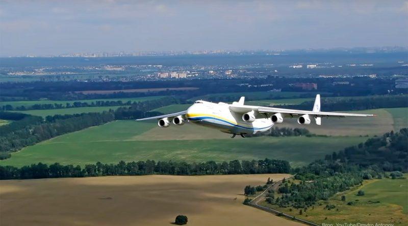 Drone films world's largest plane, an Antonov An-225, take-off