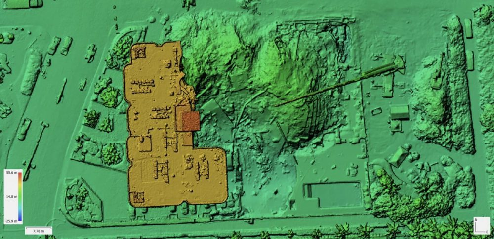 A digital elevation map made from aerial photos that were taken with a drone on June 27, 2021.