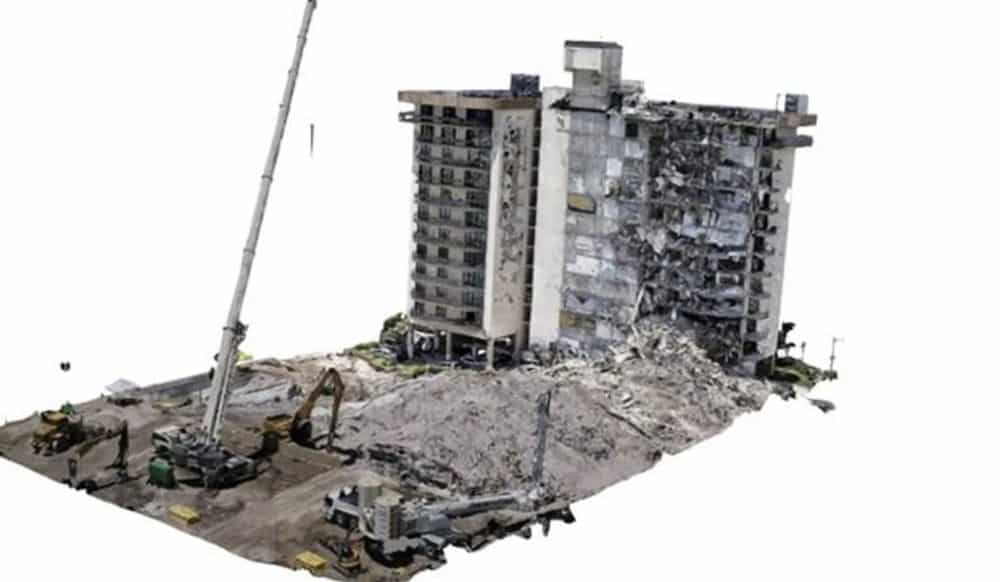 Surfside condo collapse in a 3D model shown with GeoCam 3D from July 4, 2021
