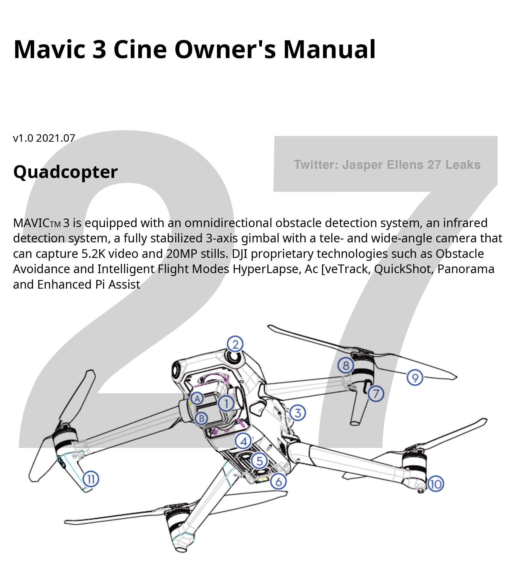 DJI Mavic 3 Pro manual images and specs leaked ahead of launch