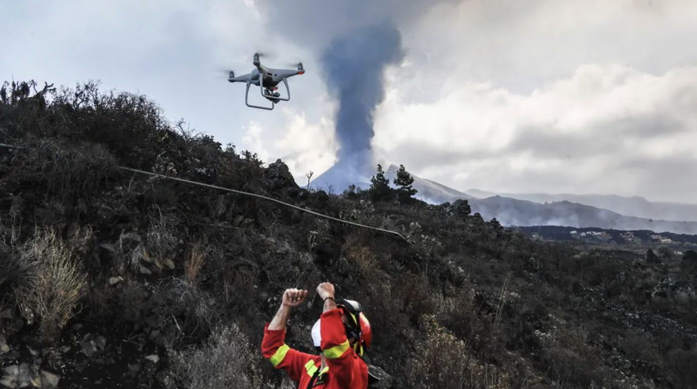 Drone delivers food and water to pets surrounded by lava